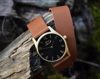 Watch with Brown Wrap Strap, Double Wrap Leather Women Watches, Womens Wrap Wrist Watch, Simple Minimalist Watch, Perfect Gift for Her