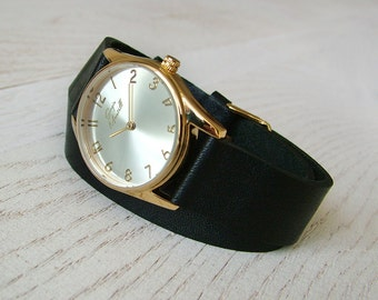 Watch, Black leather watch, Lady watch, Womens watch, Wrap strap watch, Stylish stainless steel watch, Ladies watch, Gift for her