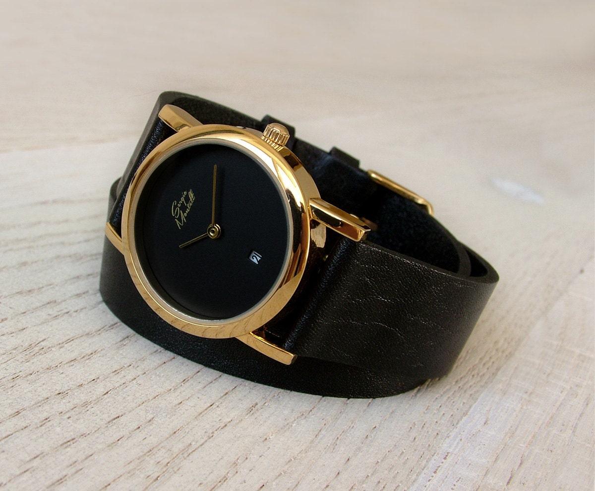 a723304e9 Black Wrap Strap Watch Minimalist Watch Leather Watch | Etsy
