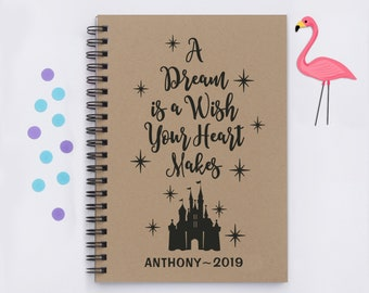 Personalized A Dream Is Wish Your Heart Makes Silhouette Version 5x7 Disney Autograph Book Castle World Disneyland Trip