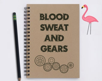 """Gift for Mechanical Engineer, Blood Sweat and Gears, 5"""" x 7"""" Journal, notebook, memory book, scrapbook, mechanical engineer, mechanic, gift"""