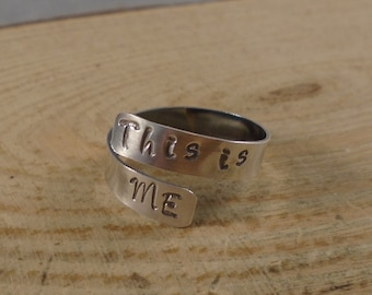 Sterling Silver Hand Stamped This Is Me Cross Over Adjustable Ring