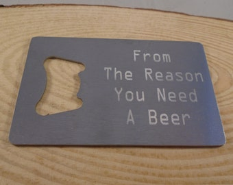 Personalised Stainless Steel Cradit Card Bottle Opener, Gift For Dad