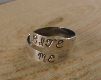 Sterling Silver Hand Stamped Bite Me Adjustable Ring