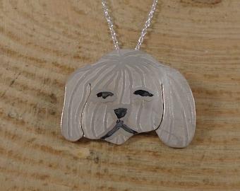 Sterling Silver Shih Tzu Necklace | Dog Owner Gift | Silver Dog Necklace | Shi Tzu Jewellery