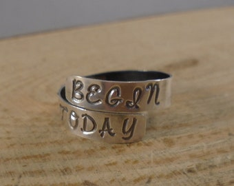 Sterling Silver Hand Stamped Begin Today Adjustable Ring
