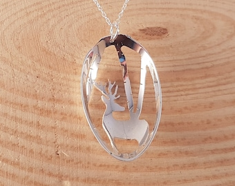 Hand Made Sterling Silver Upcycled Pierced Stag Scene Spoon Necklace, Silver Stag Spoon Pendant, Animal Spoon Jewellery, Pierced Jewellery
