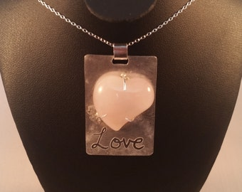 Sterling Silver 'Love' Necklace with Rose Quartz Heart Shaped Cabochon