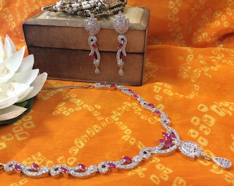 Ruby and AD Necklace and Earring Set