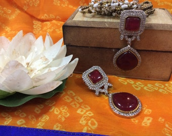 Beautiful AD & Ruby Hanging Earrings