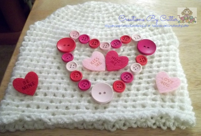 Hot Pink Costume Love Heart or Valentines Beanie Hat Hearts,Wooden Button Heart Photo Prop Pink Crochet Conversational Hearts Red