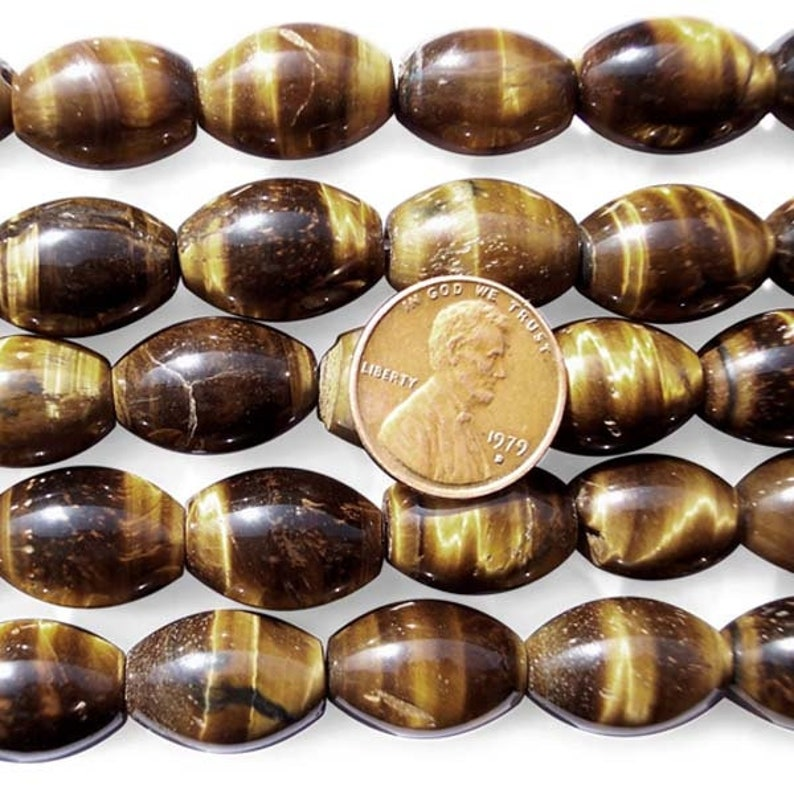 13x18mm Tiger Eye Beads in Rice Shape on Temporary Strand