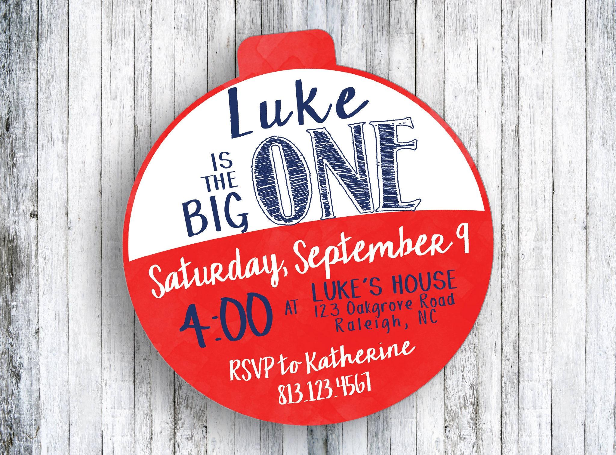 The Big One Birthday Invitation Red and White Bobber | Etsy