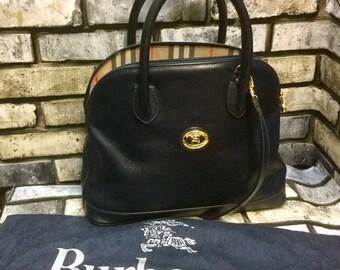 d9080ea543 Burberry vintage 1980s navy leather back, top handles, crossbody bag, vintage  Burberry, ladies bag.