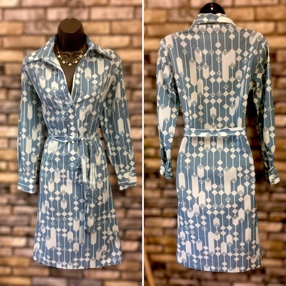 Lanvin 1960 shirt dress, blue geometric dress, shi