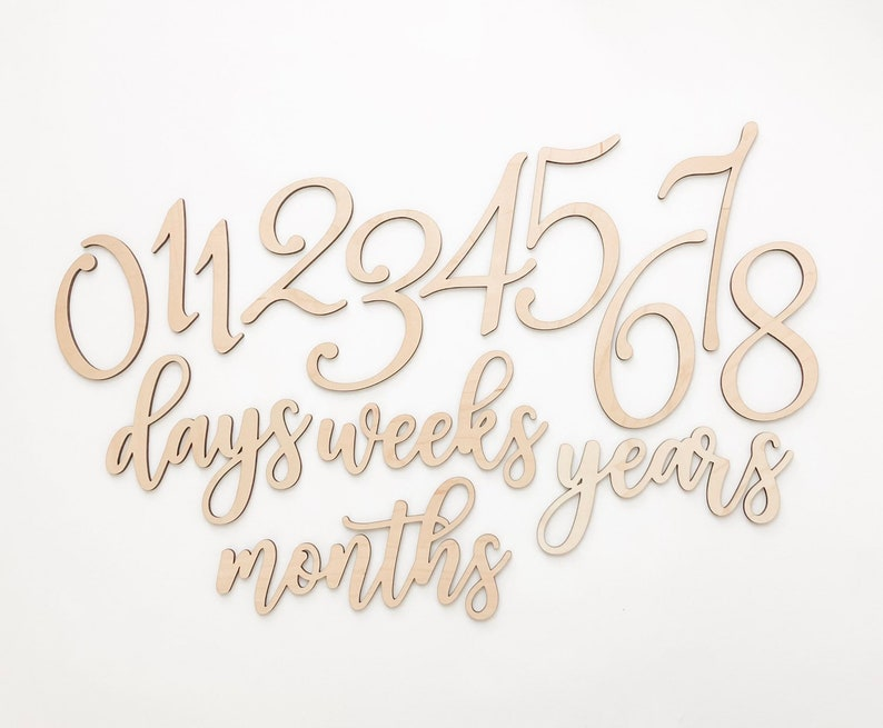 Wood Baby Milestone Numbers Cards  Baby Photo Props  image 0