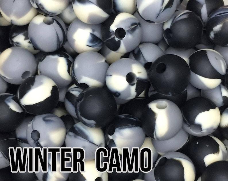 12 mm Winter Camo Silicone Beads 10-1000 black grey ivory image 0