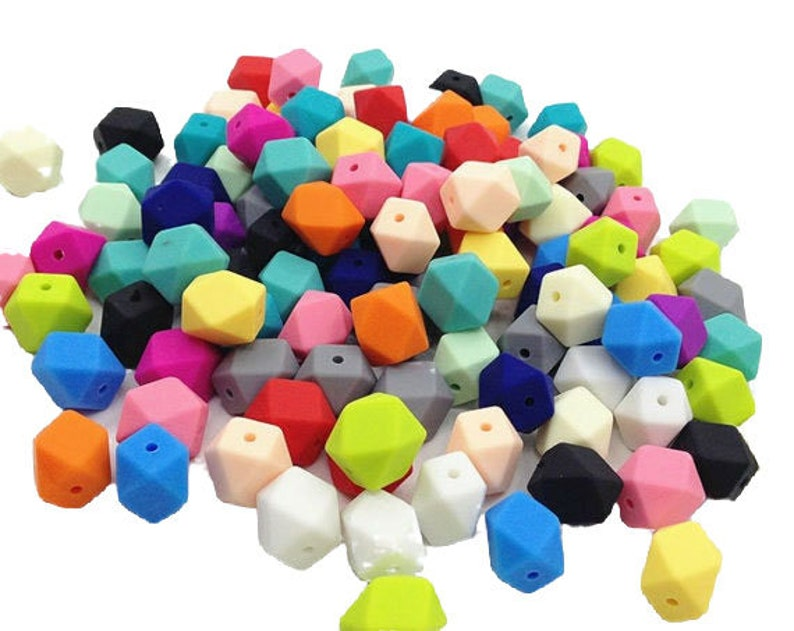 5-1000  Hexagon Geometric Silicone Beads  17 mm  Bulk image 0