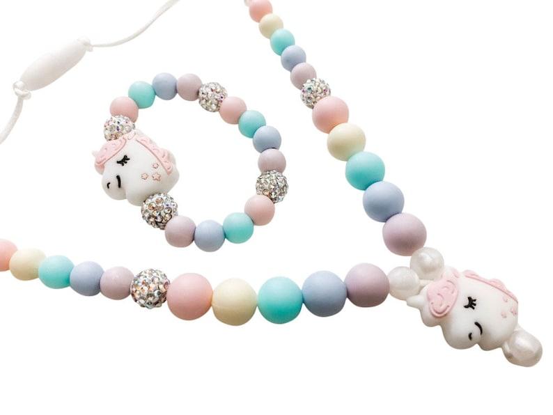 Super Sparkly Unicorn Necklace Little Girl Gift Bracelet Add image 0