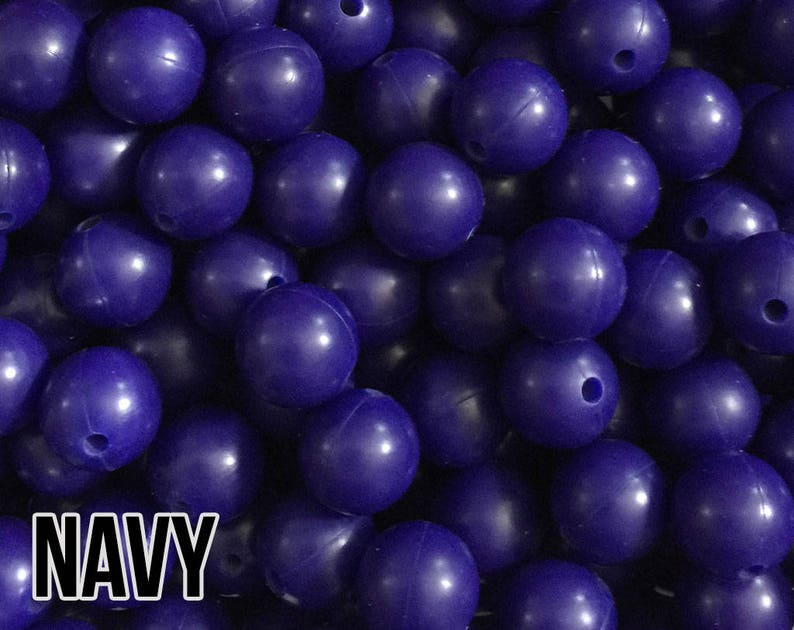 12 mm Navy Silicone Beads 10-1000 aka  Dark Blue Dark image 0