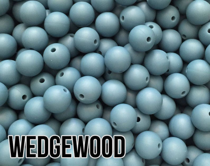 15 mm Wedgewood Silicone Beads 5-1000 aka Medium Blue Dusty image 0
