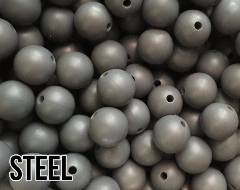 12 mm Steel Silicone Beads 10-1000 aka Dark Grey Teething image 0
