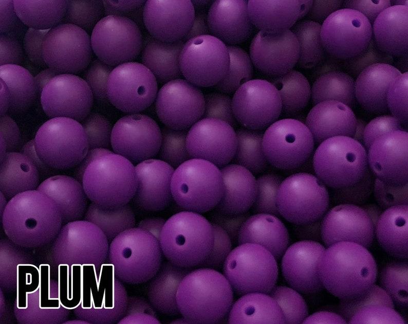 12 mm Plum Silicone Beads 10-1000 aka Jewel Purple Teething image 0