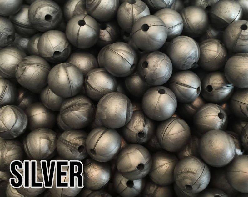 12 mm Silver Silicone Beads 10-1000 aka Metallic Grey image 0