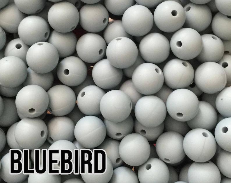 9 mm Bluebird Silicone Beads 10-1000 aka Light Blue Pastel image 0