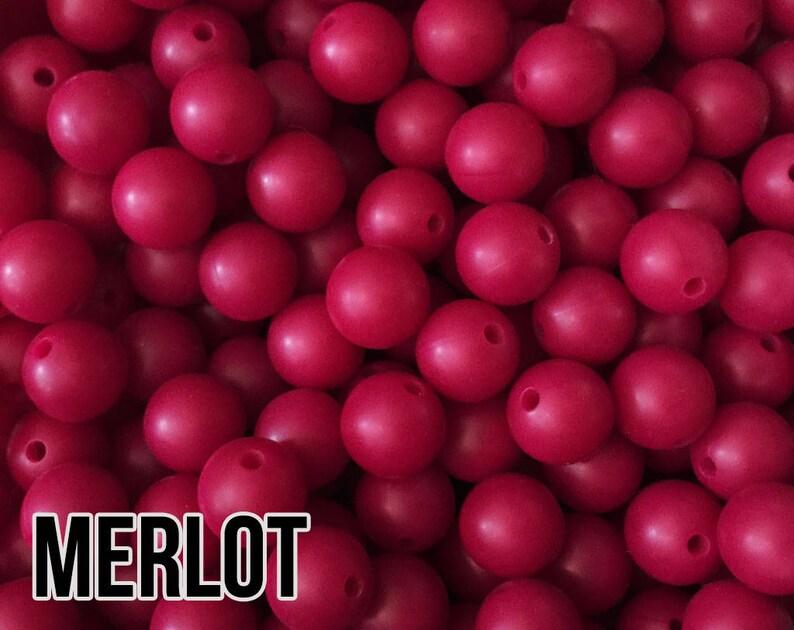 12 mm Merlot Silicone Beads 10-1000 aka Sangria Dark Pink image 0