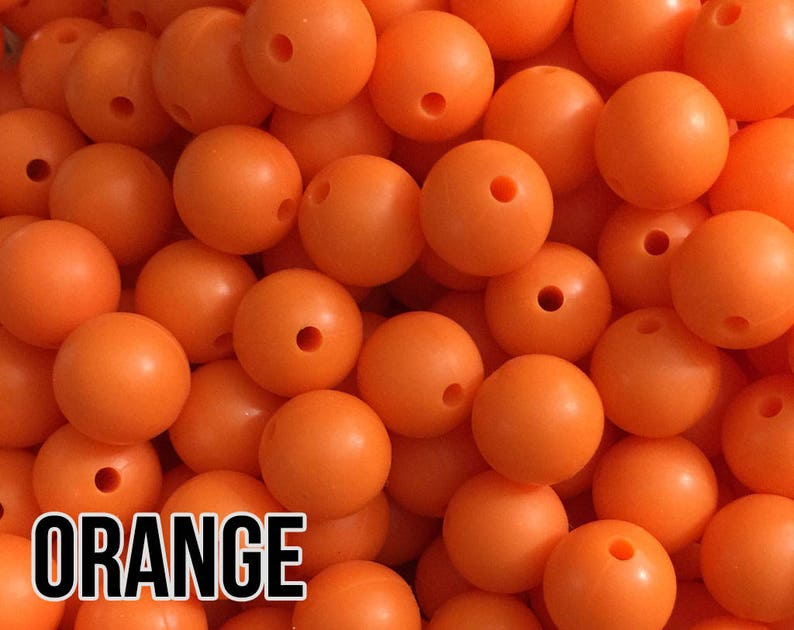 15 mm Orange Silicone Beads 5-1000 Teething Beads Teething image 0