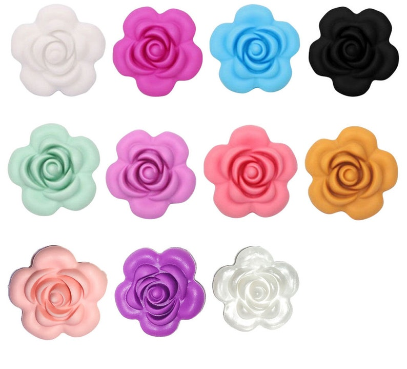 SALE  1-10 Flower / Rose Silicone Bead  3D Flower Seamless image 0
