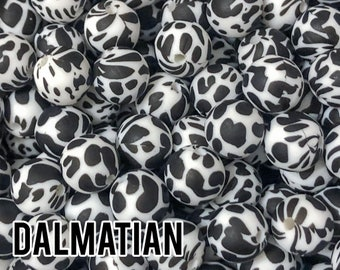 Silicone Beads, 15 mm Dalmatian Silicone Beads 5-100 (aka Cow Print, Black Spots, Spotted) - Bulk Silicone Beads Wholesale