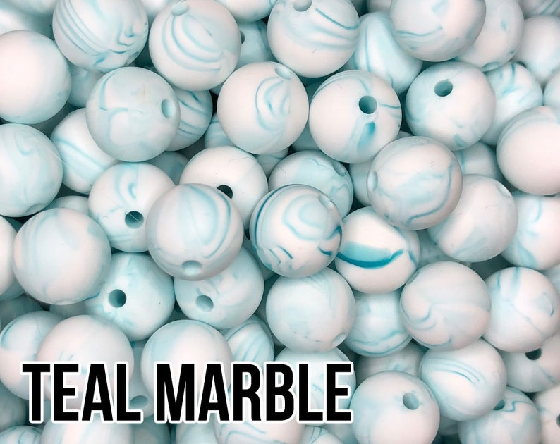 15 mm Teal Marble Silicone Beads 5-1000 aka Scuba image 0