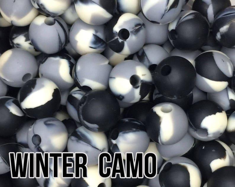 15 mm Winter Camo Silicone Beads 5-1000 black grey ivory image 0