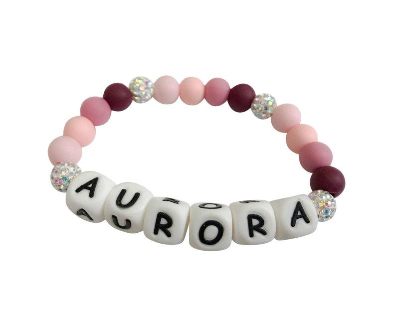 Super Sparkly Pink Princess Name Bracelet  Child Bracelet  image 0