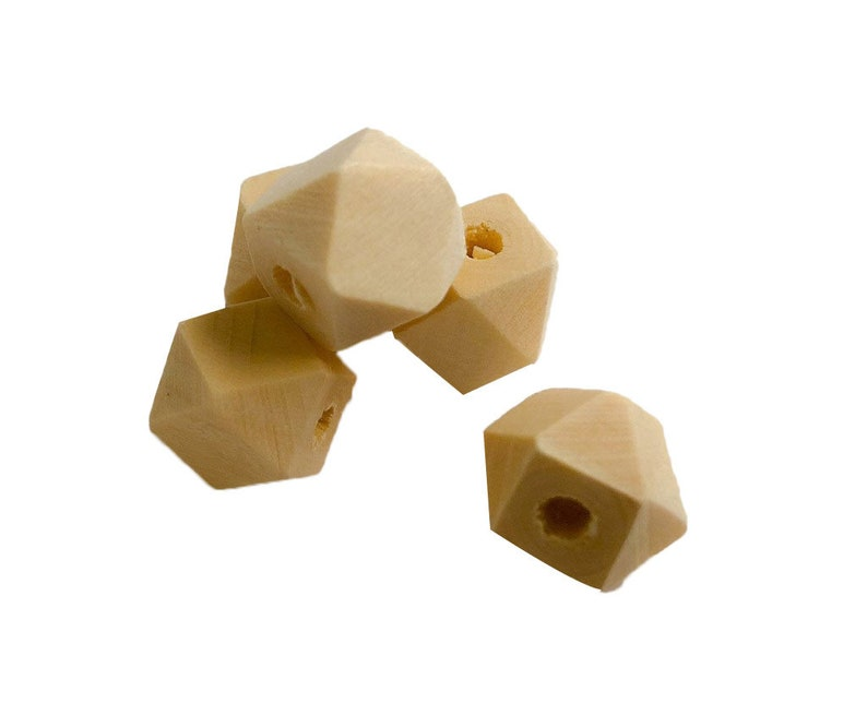 12 mm 0.5 in Hexagon Geometric Wood Bead  Unfinished image 0