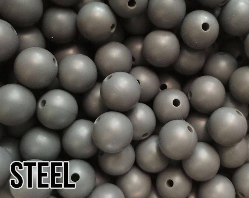 9 mm Steel Silicone Beads 10-1000 aka Dark Grey Teething image 0