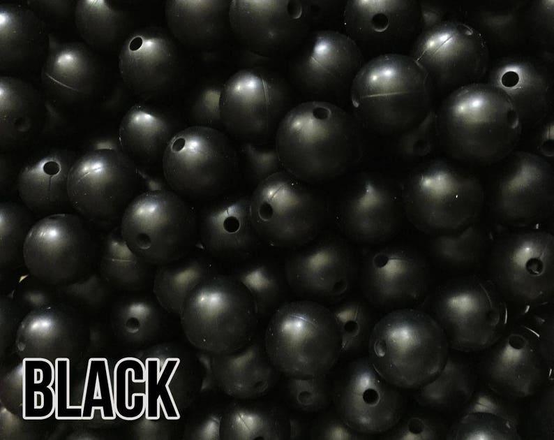 15 mm Black Silicone Beads 5-1000 aka Smokey Black Teething image 0