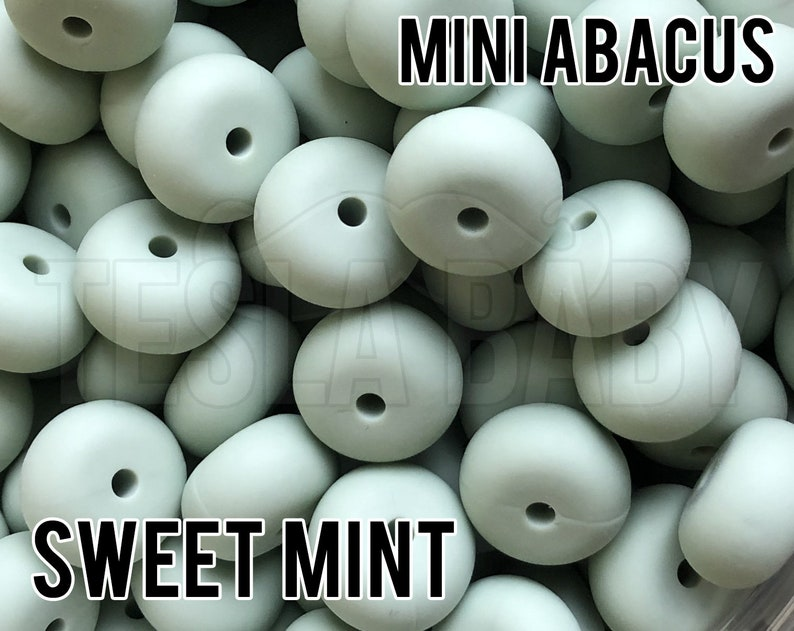 aka Dusty Mint Green Wholesale Silicone Beads Mini Abacus Sweet Mint Silicone Beads 5-1,000