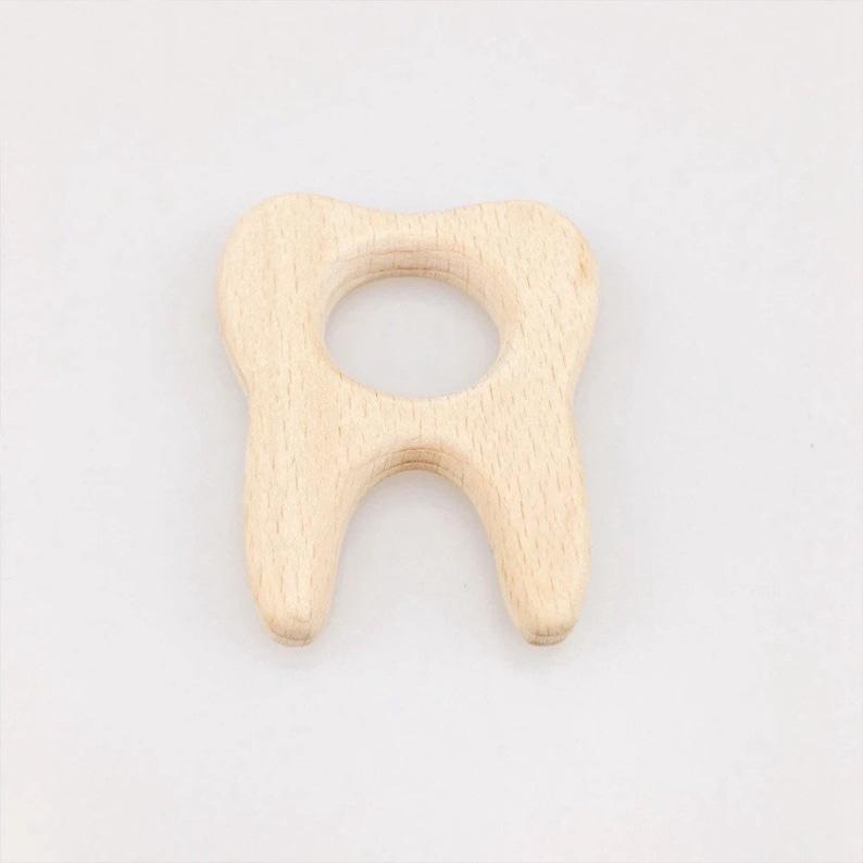 Tooth Wood Teether  DIY Wood Teething  Birch Teether  Beech image 0