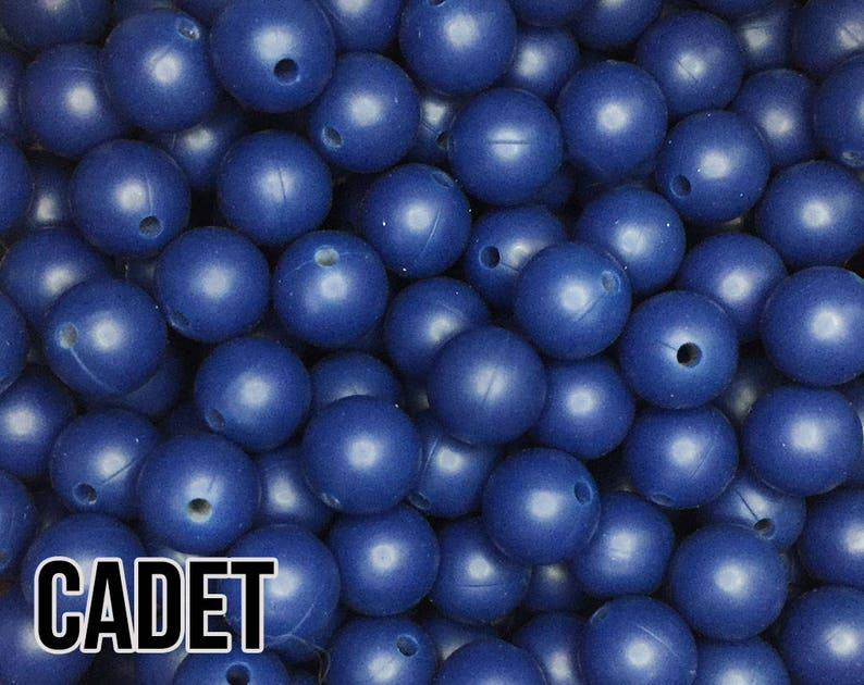 15 mm Cadet Silicone Beads 5-1000 aka Dark Blue Teething image 0