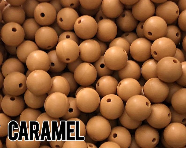 15 mm Caramel Silicone Beads 5-1000 aka Light Brown Tan image 0