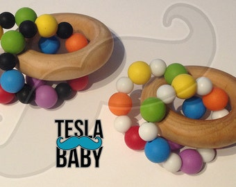 """Wood Silicone Teether - 2.50"""" Birch Wood Ring with 12 Rainbow 12 mm Food Grade Silicone Beads and 12 Black or White 9 mm Beads - TESLA BABY"""
