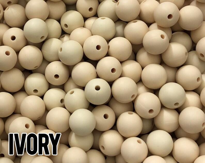 9 mm Ivory Silicone Beads 10-1000 aka Navajo White Teething image 0