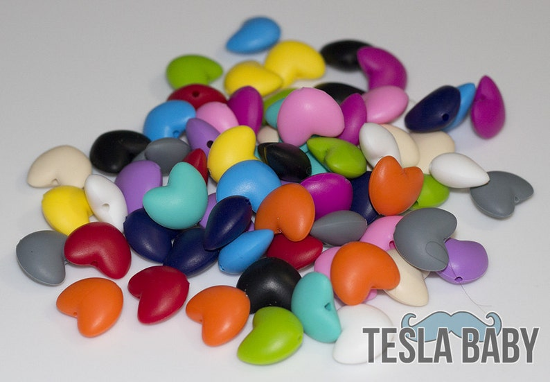 SALE 20% off  5-50 Heart Silicone Beads  Seamless Silicone image 0