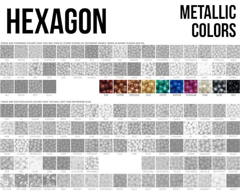 10-1000 Hexagon Geometric Silicone Beads  Metallic Colors  image 0
