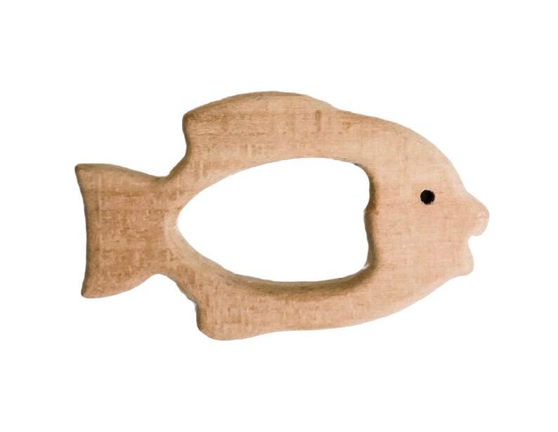 Tropical Fish Wood Teether  DIY Wood Teething  Birch Teether image 0