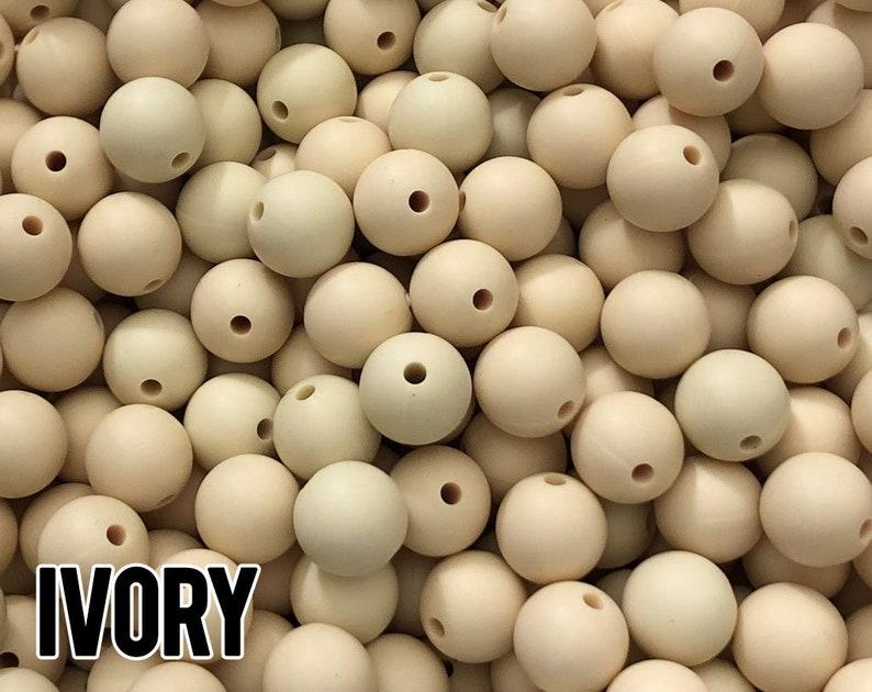 12 mm Ivory Silicone Beads 10-1000 aka Navajo White image 0