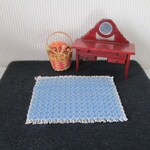 """Handwoven dollhouse rug, blue and white, 3.5x4.5"""""""
